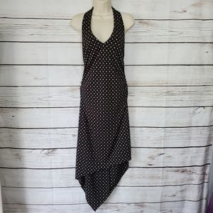 Connected Petite | Halter Polka Dot High-Low Dress